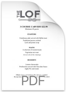 The Loft 3 Course Carvery £22.50.