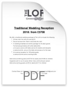 Traditional Wedding Reception 2018 From £3700. at the Loft.