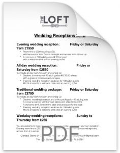 Weddings At The Loft Price Guide 2018.